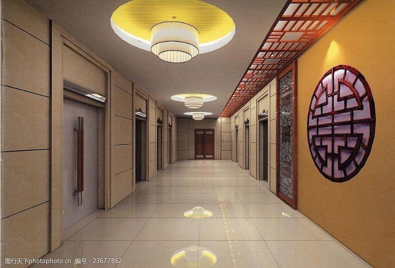 材质灯光齐全兴业银行元洪大厦办公楼电梯厅