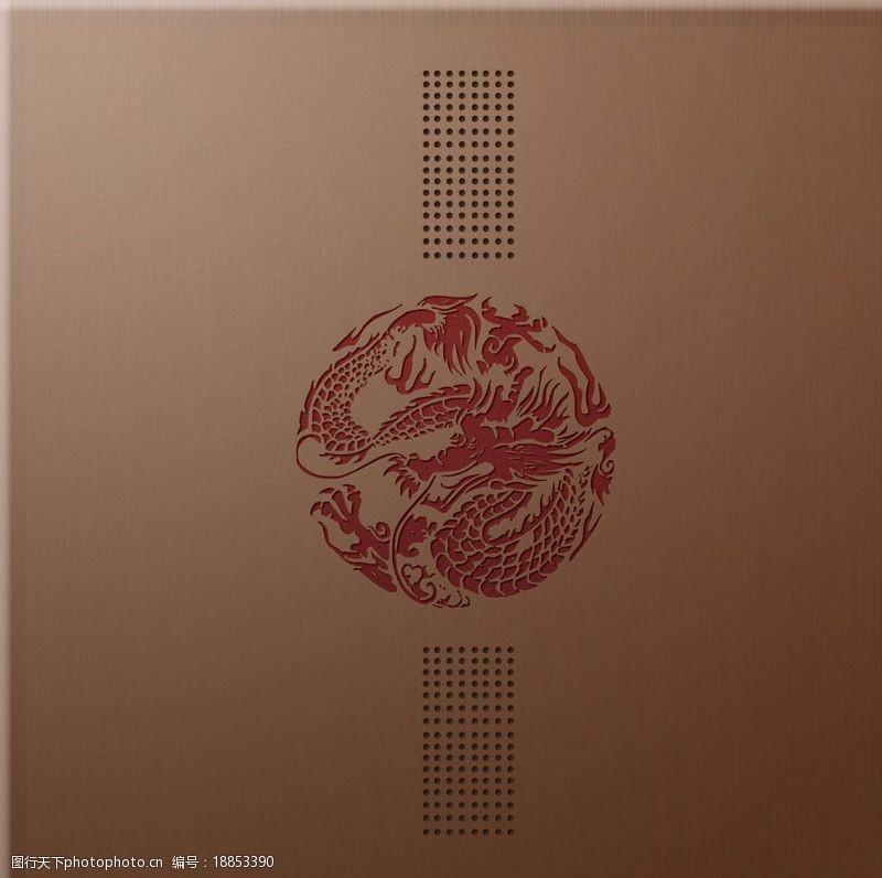 一品茗茶业包装龙纹雕刻木质纹理(高精度)图片